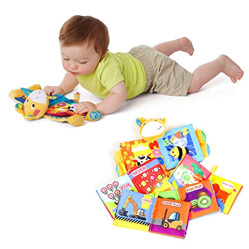 labebe 6-Pack Cloth Educational Book for Baby Aged 3-24 Month Baby Boy Book/Baby Book Girl/Alphabet Book/Toy Book/Children Activity Book/Baby Book Set/Toddler Book Set/Jungle Book Babys First Book